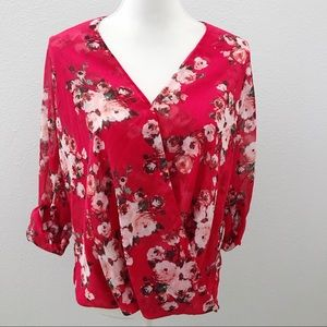 NWT Kut From the Kloth red floral surplice top